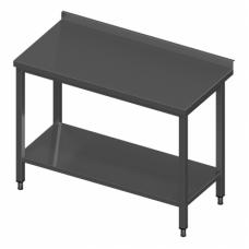 Nerūdijančio plieno stalas su lentyna – 600 mm pločio